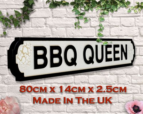 BBQ Queen Vintage Road Sign / Street Sign